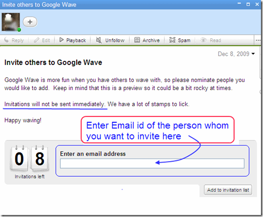 How to invite Google wave