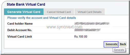 generate sbi virtual card